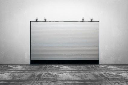Garage with closed door