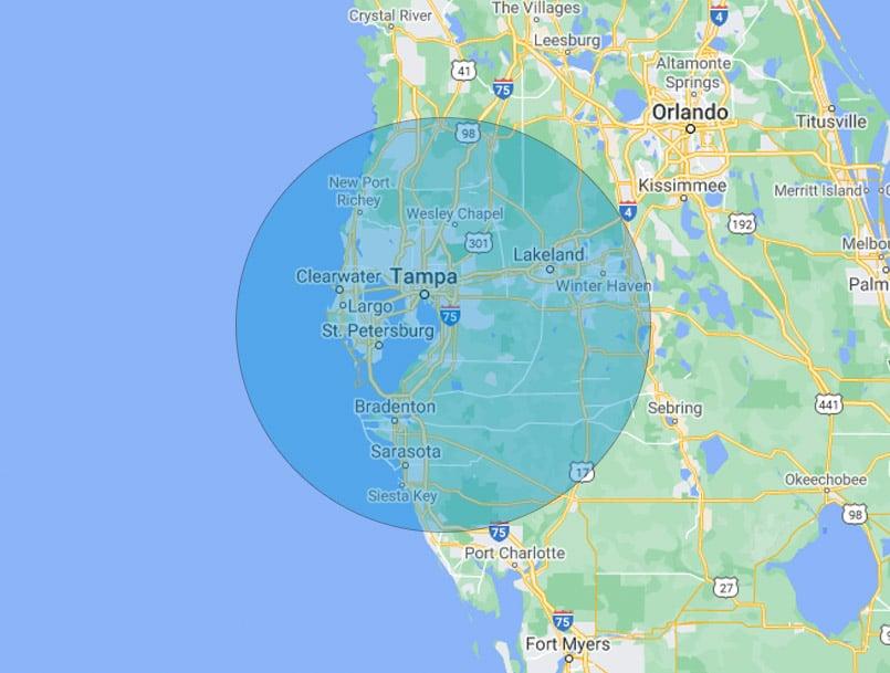 OGD Overhead Garage Door Tampa, FL Service Area Map